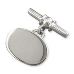 Silver Oval Cufflinks with Chain and Bar