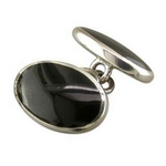 Silver Double Oval Onyx Cufflinks