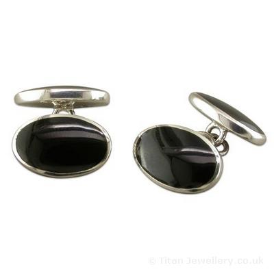 Sterling Silver Onyx Cuff Links