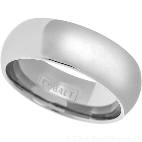 Mens 8mm Polished Classic Court Cobalt Wedding Ring