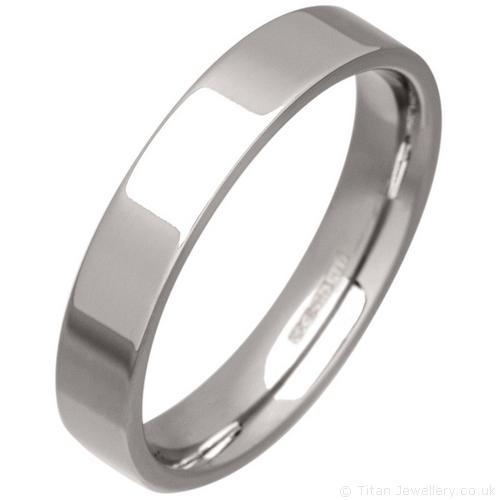 Womens 4mm Palladium 500 Flat Court Wedding Ring