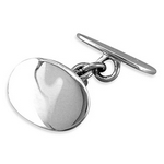 Silver Double Oval Cufflinks