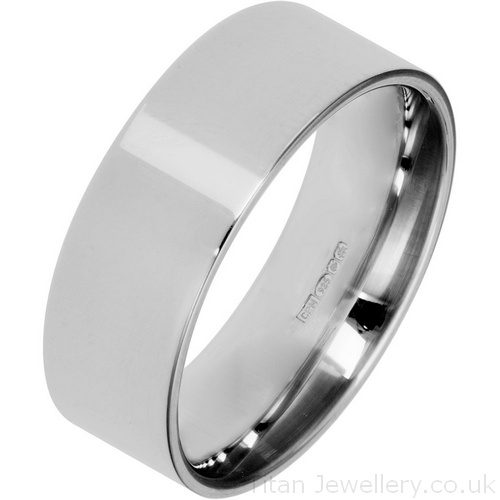 8mm Sterling Silver Flat Court Wedding Ring