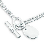 Silver Curb Necklace with Integral Tag