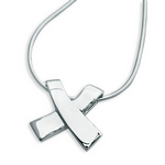 Silver Ribbon Kiss Pendant