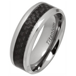 8mm Titanium Ring with Black Carbon Fibre Inlay