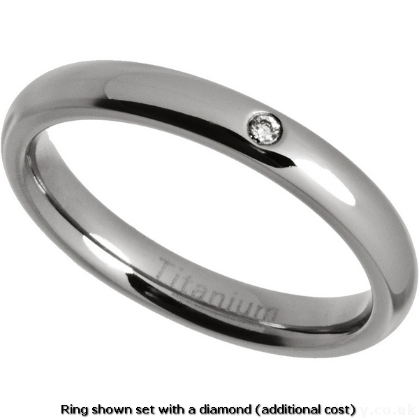 Womens 3mm Polished Titanium Court Ring Wedding Ring