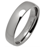 5mm Classic Court Polished Titanium Wedding Ring