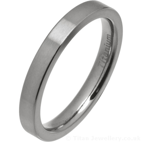Womens 3mm Satin Brushed Titanium Flat Wedding Ring