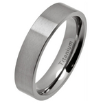 5mm Comfort Fit Brushed Titanium Wedding Ring