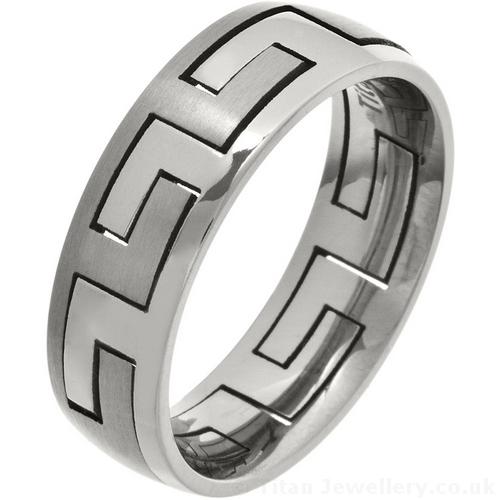 Men S 2 Piece Greek Key Titanium Puzzle Ring