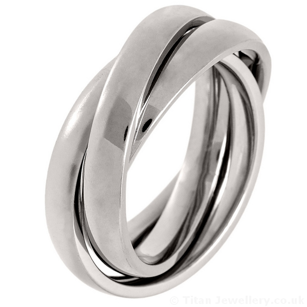 Russian Wedding Ring Made From 3 X Titanium Bands
