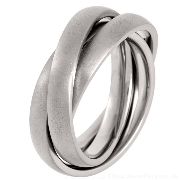 Satin Brushed 3 Piece Titanium Russian Wedding Ring