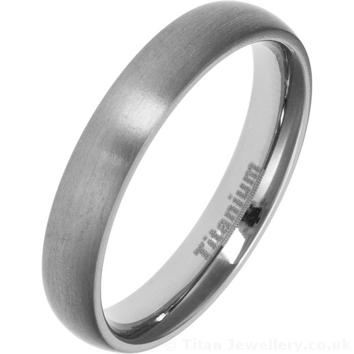 4mm Satin Brushed Titanium Court Wedding Ring
