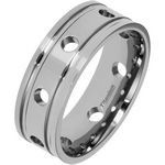 8mm Polished Titanium Ring with Circles