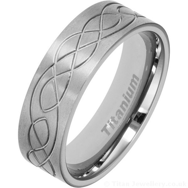 Men S 7mm Titanium Celtic Wedding Ring