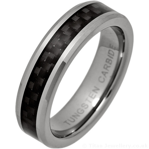 5mm Tungsten Ring With Black Carbon Fibre Inlay