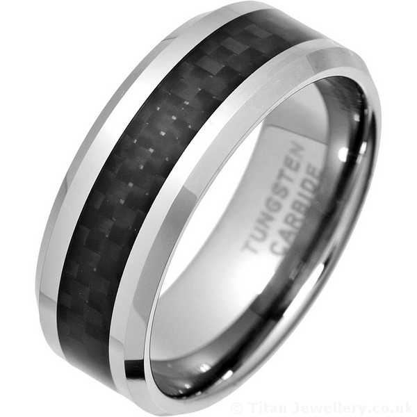 8mm Tungsten Ring with Black Carbon Fibre Inlay