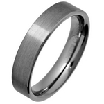 5mm Comfort Fit Brushed Tungsten Wedding Ring