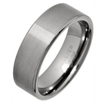 7mm Comfort Fit Brushed Tungsten Wedding Ring