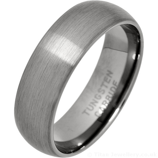 Mens Wedding Rings.7mm Brushed Court Tungsten Carbide Wedding Ring