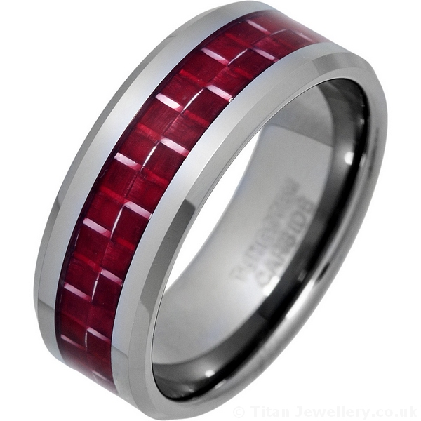 Red Carbon Fibre Inlay Ring Tungsten Carbide Ring