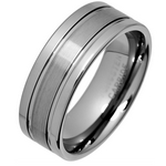 Men's 8mm Textured Stripe Tungsten Ring
