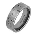 7.5mm Equidistant Brick Design Tungsten Spinner Ring
