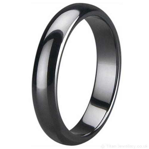 5mm Black Zirconia Ceramic Court Wedding Ring