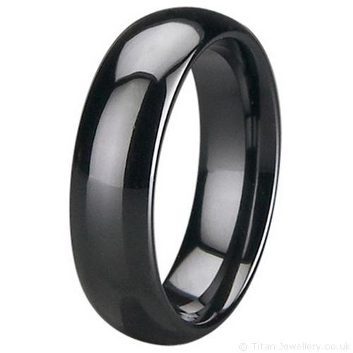 Mens 6mm Black Zirconia Ceramic Court Wedding Ring