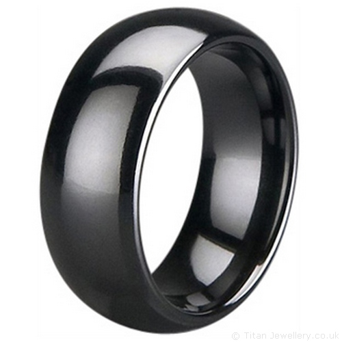 8mm black zirconia ceramic court wedding ring - Ceramic Wedding Rings