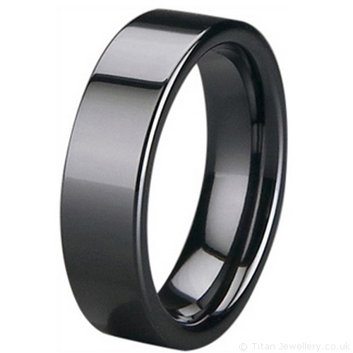 Black Wedding Rings made of Zirconia Ceramic