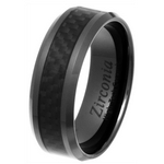 8mm Black Ceramic Zirconia and Carbon Fibre Ring